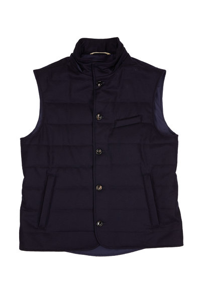 Maurizio Baldassari - Navy Quilted Wool Button Front Vest With Hood