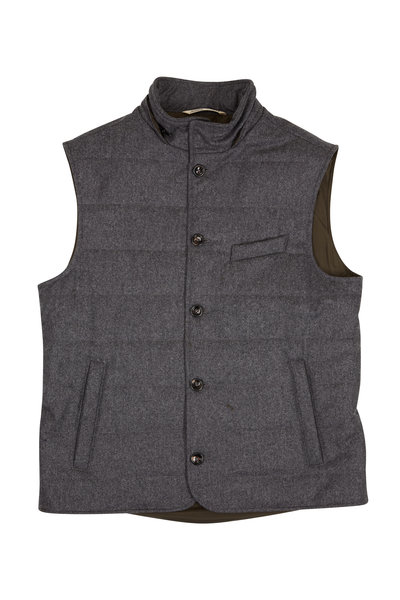 Maurizio Baldassari - Gray Wool Button Front Quilted Vest With Hood