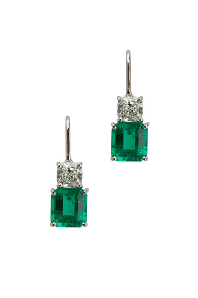 Oscar Heyman - Platinum Green Emerald Diamond Earrings