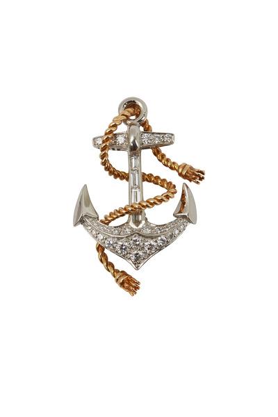 Oscar Heyman - Gold & Platinum Diamond Anchor Brooch