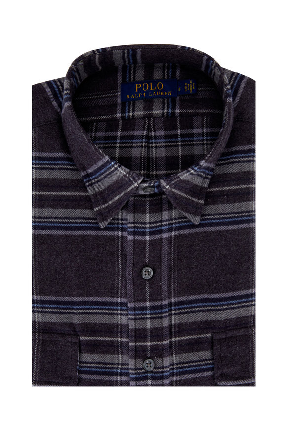 Polo Ralph Lauren Gray & Blue Striped Flannel Sport Shirt