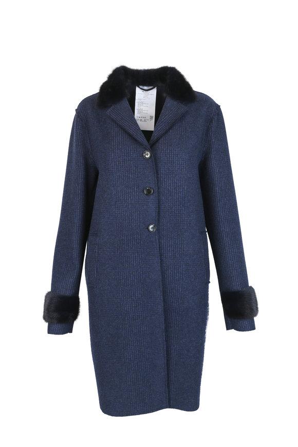 Kiton Navy Blue Plaid Cashmere & Mink Coat