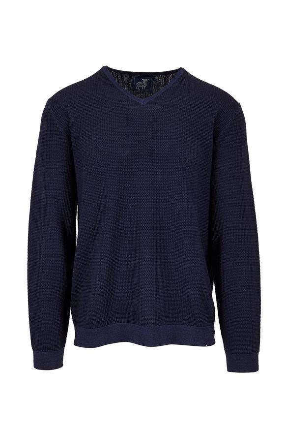 Raffi  Navy Wool Waffle Knit V-Neck Pullover