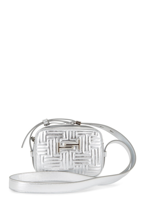 Tod's Double T Silver Matelassé Camera Belt Bag