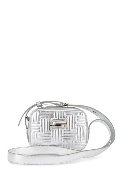 Tod's - Double T Silver Matelassé Camera Belt Bag