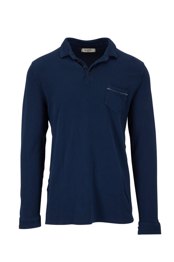 M.Singer Navy Piqué Long Sleeve Polo
