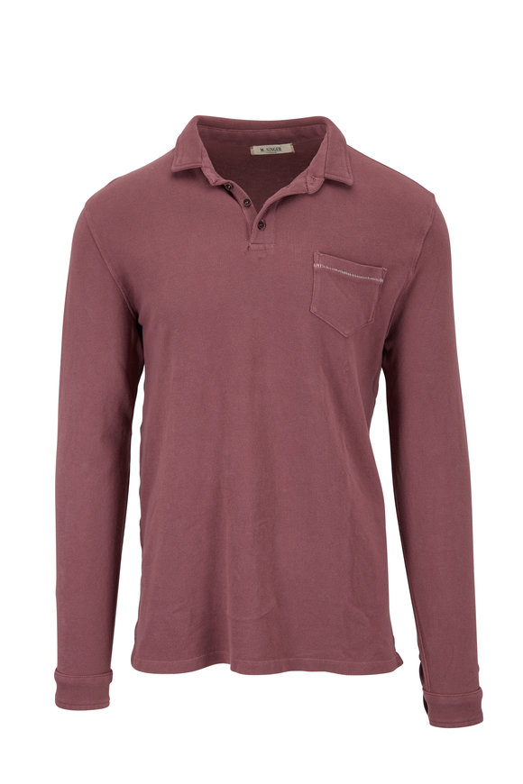 M.Singer Brick Red Piqué Long Sleeve Polo