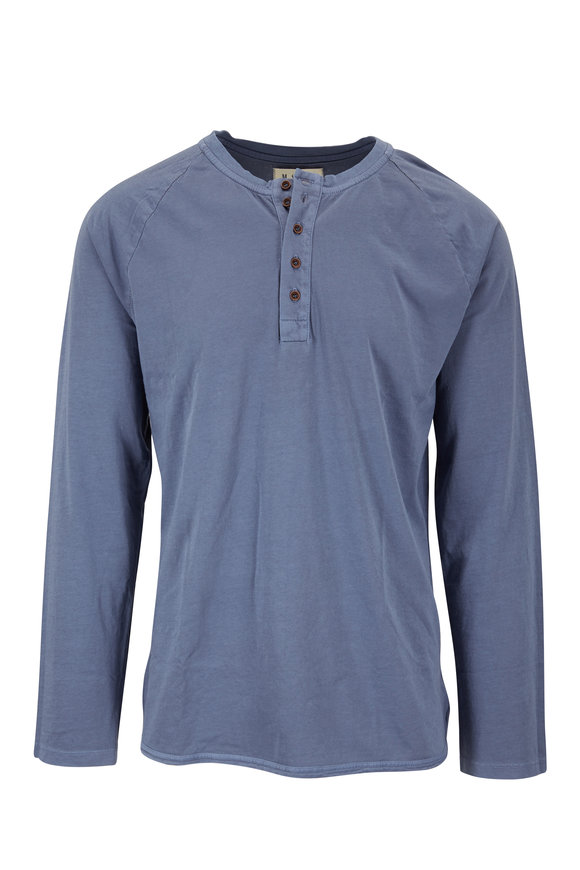 M.Singer Light Blue Long Sleeve Henley
