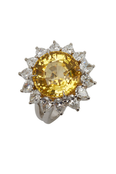 Oscar Heyman - Platinum Yellow Sapphire Diamond Cocktail Ring