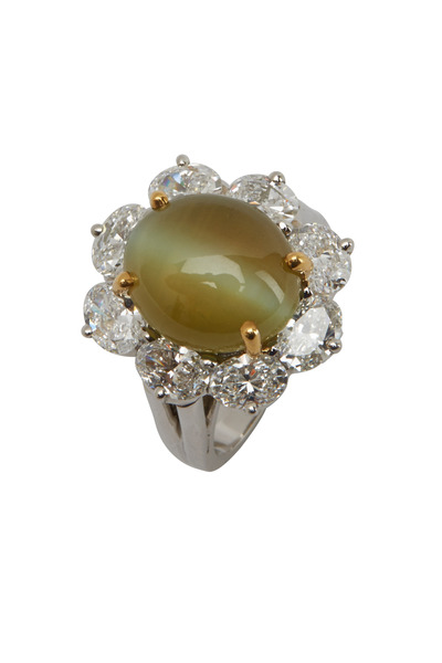 Oscar Heyman - Platinum Cats Eye Diamond Ring