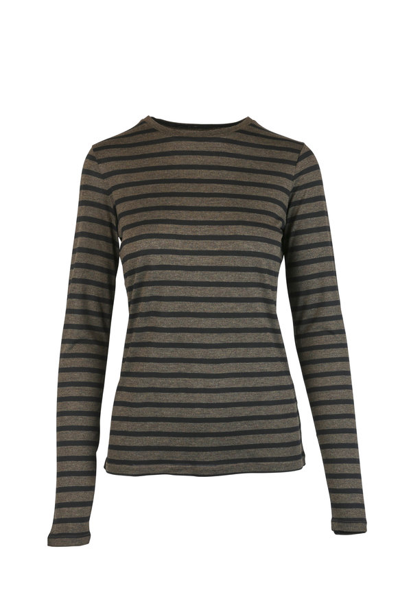 Vince Olive Green Striped T-Shirt