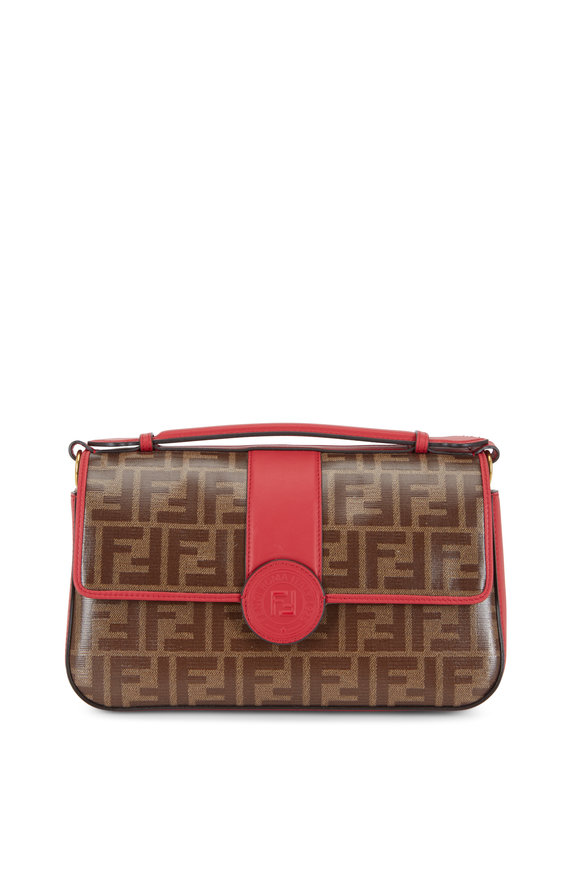 Fendi Double F Red Leather & Embossed Logo Chain Bag