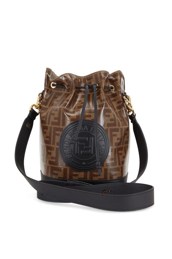 Fendi Mon Tresor Tobacco & Black FF Print Bucket Bag