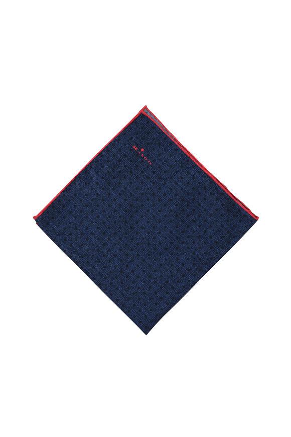 Kiton Navy Blue Dot Pattern Silk Pocket Square
