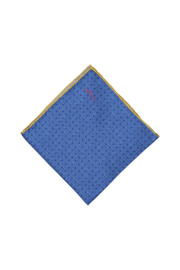 Kiton Blue Dot Pattern Silk Pocket Square