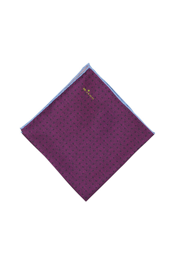 Kiton Purple Dot Pattern Silk Pocket Square