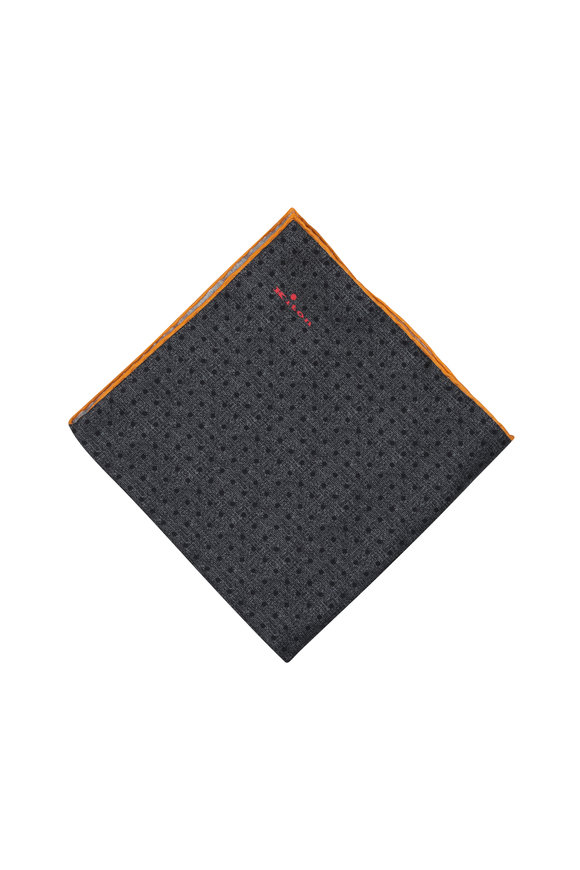Kiton Gray Dot Pattern Silk Pocket Square