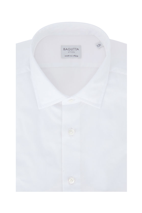 Bagutta Solid White Slim Fit Dress Shirt