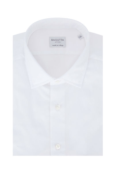 Bagutta - Solid White Slim Fit Dress Shirt