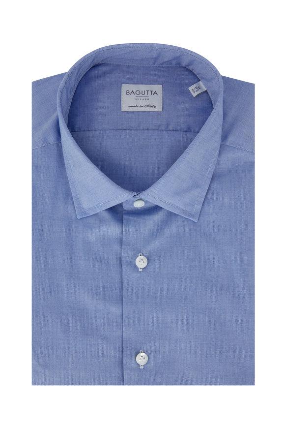 Bagutta Light Blue Tic Slim Fit Dress Shirt