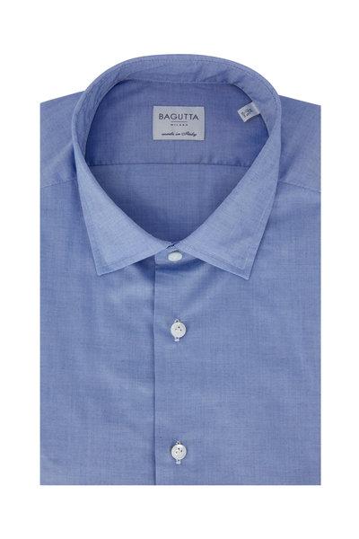 Bagutta - Light Blue Tic Slim Fit Dress Shirt