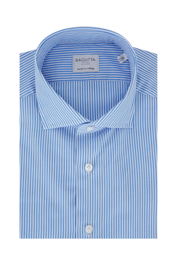 Bagutta Light Blue Bengal Striped Slim Fit Dress Shirt