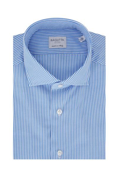 Bagutta - Light Blue Bengal Striped Slim Fit Dress Shirt