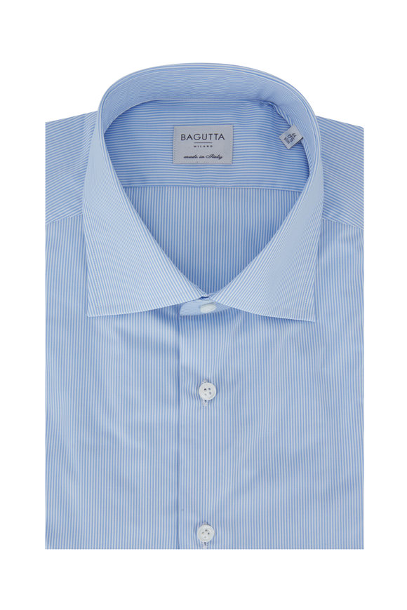 Bagutta Light Blue Striped Slim Fit Dress Shirt