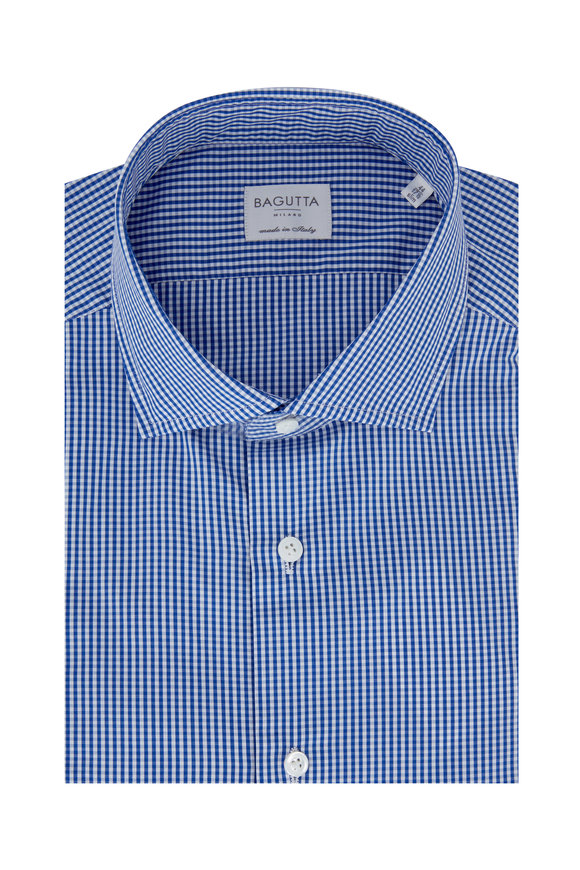 Bagutta Royal Blue Gingham Slim Fit Dress Shirt