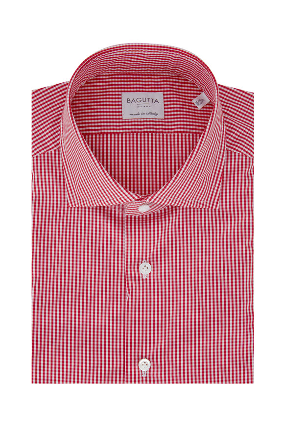 Bagutta Red Gingham Slim Fit Dress Shirt