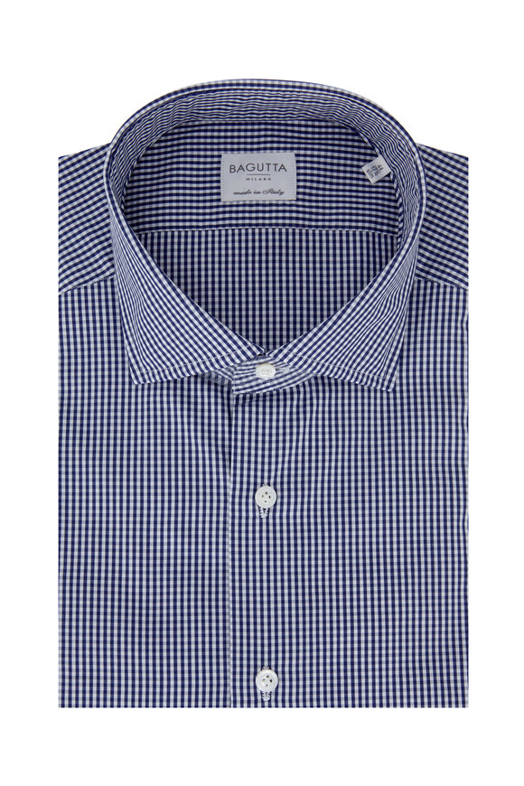 Bagutta Navy Blue Gingham Slim Fit Dress Shirt