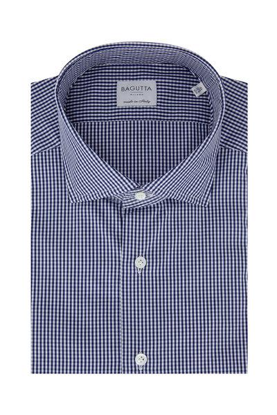 Bagutta - Navy Blue Gingham Slim Fit Dress Shirt