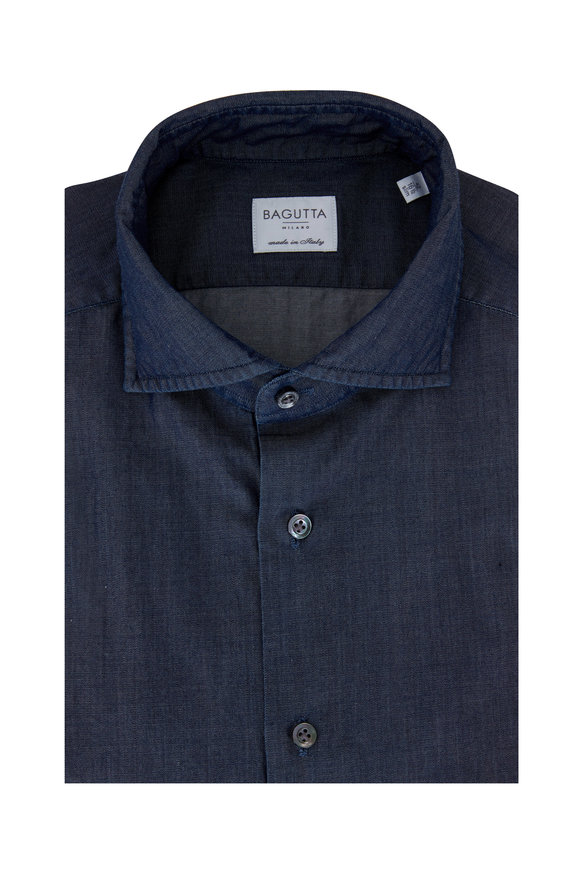 Bagutta Chambray Slim Fit Dress Shirt
