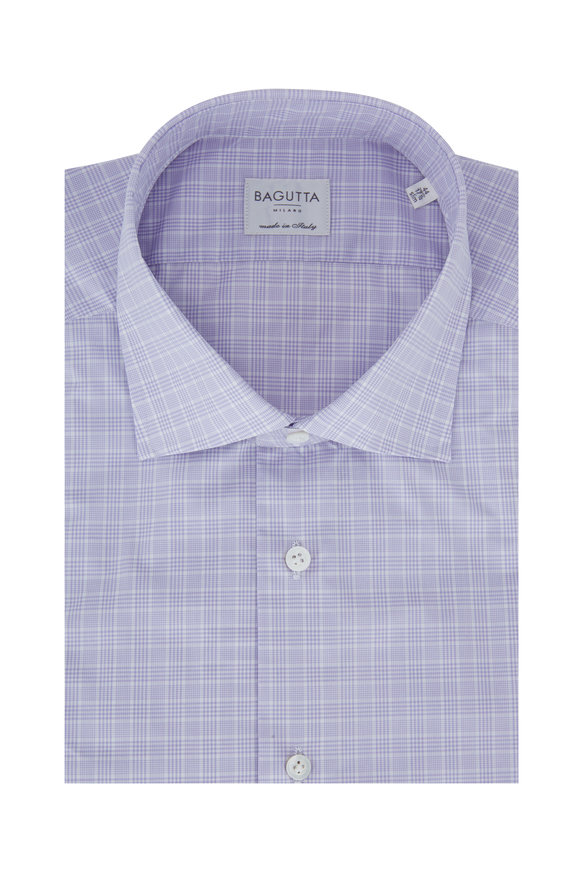 Bagutta Lilac Plaid Slim Fit Dress Shirt