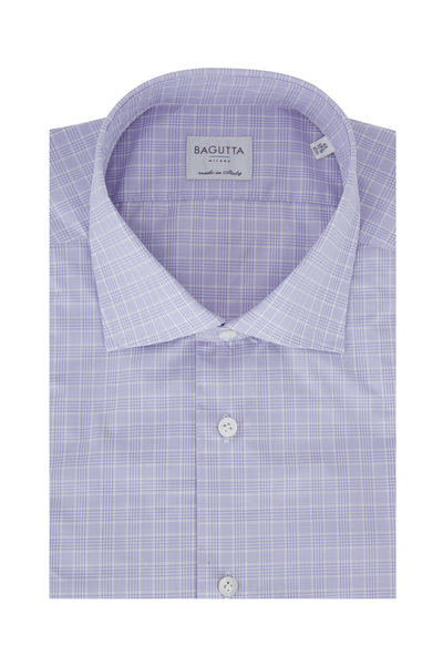 Bagutta - Lilac Plaid Slim Fit Dress Shirt