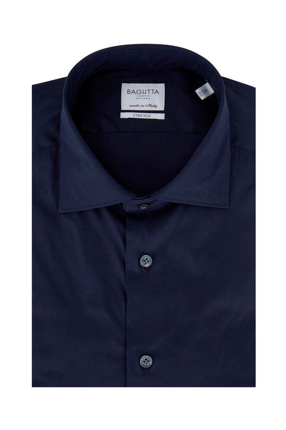 Bagutta Solid Navy Blue Poplin Slim Fit Dress Shirt