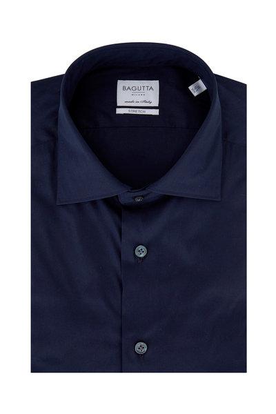 Bagutta - Solid Navy Blue Poplin Slim Fit Dress Shirt