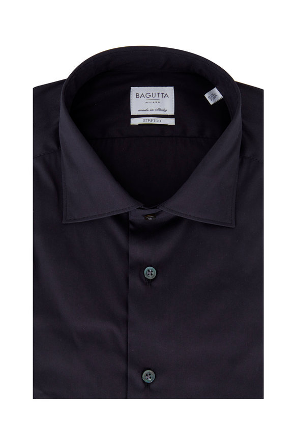 Bagutta Charcoal Gray Poplin Slim Fit Dress Shirt