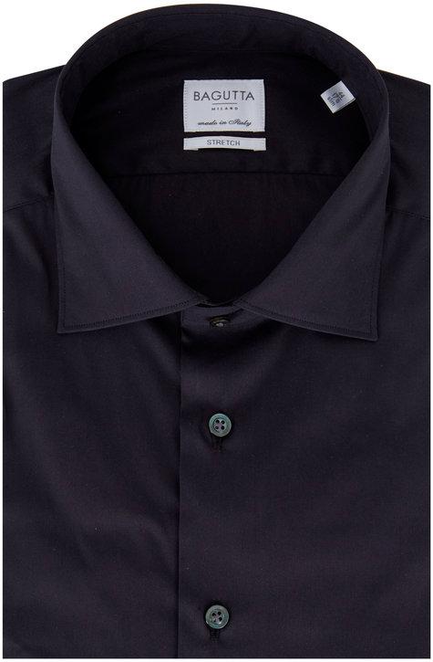 Bagutta Charcoal Gray Poplin Slim Fit Dress Shirt