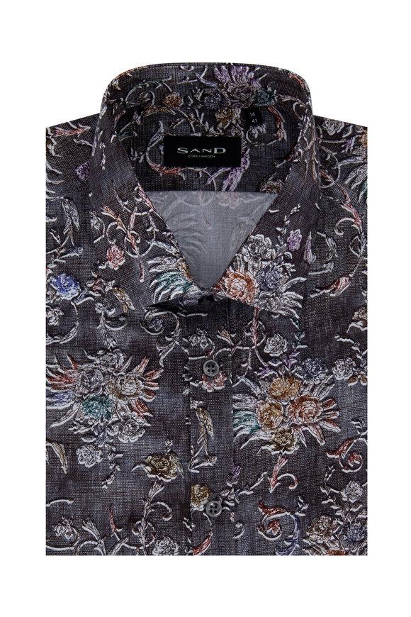 Sand Gray Floral Regular Fit Sport Shirt