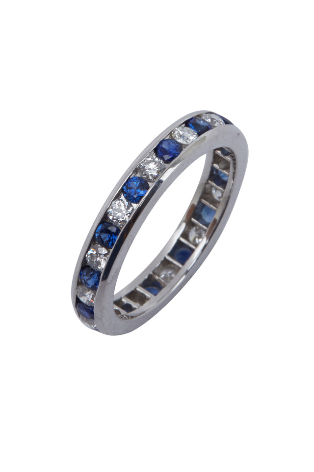 Platinum Blue Sapphire White Diamond Guard Ring