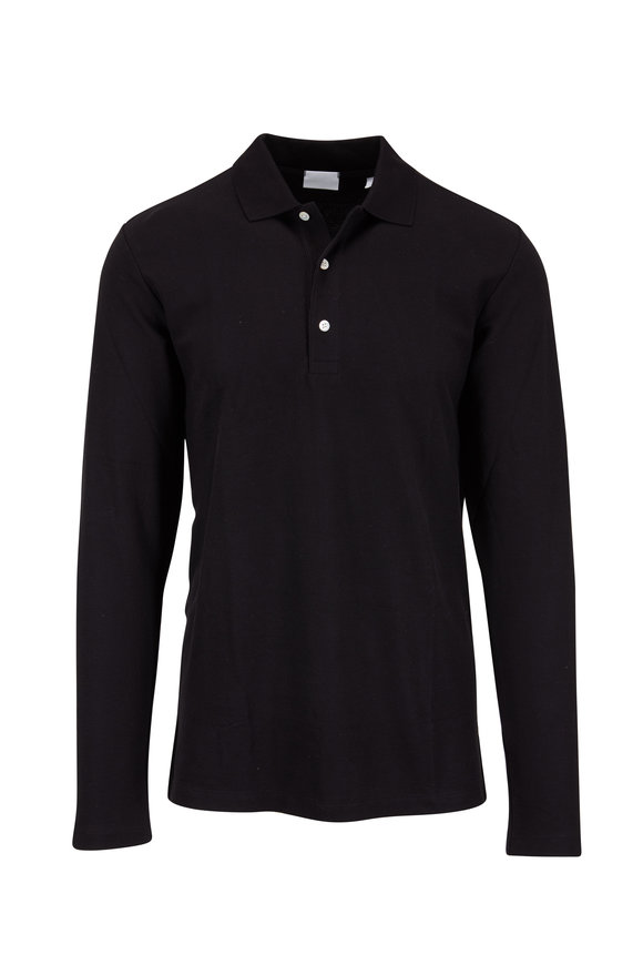 Handvaerk Black Piqué Long Sleeve Polo