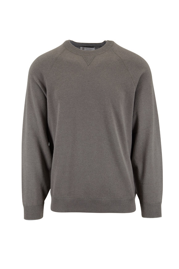 Brunello Cucinelli Olive Wool, Cashmere & Silk Crewneck Sweater