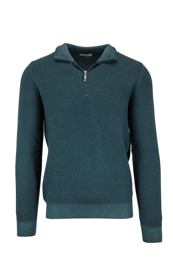 Gran Sasso Dark Green Merino Piqué Quarter-Zip Pullover