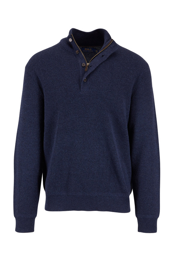 Polo Ralph Lauren Navy Blue Marled Merino Wool Elbow Patch Sweater