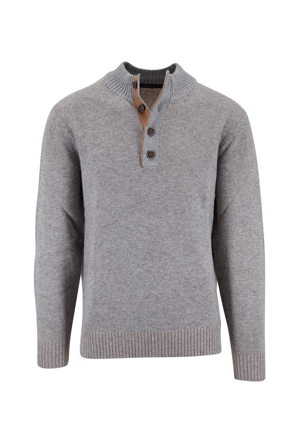 Raffi  Steel Cashmere Blend Quarter-Button Pullover