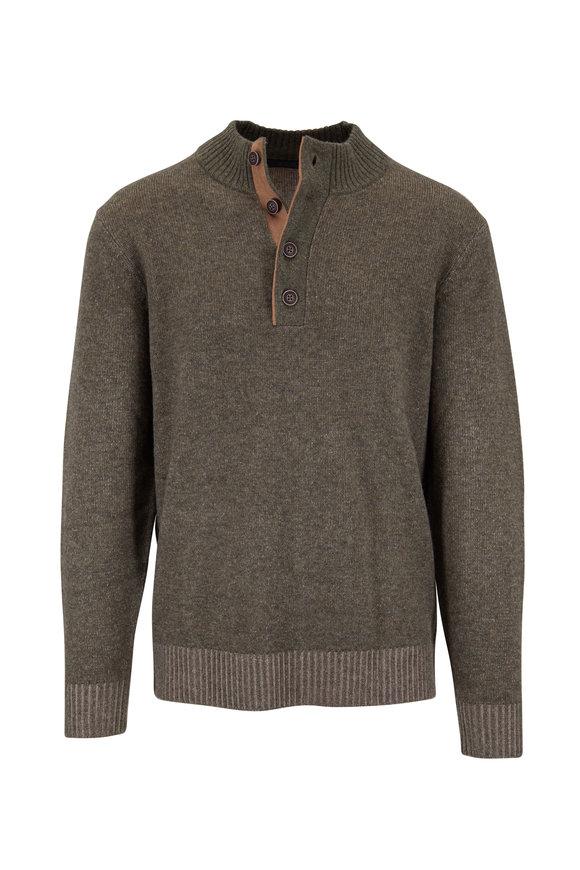 Raffi  Artichoke Wool Blend Quarter-Button Pullover