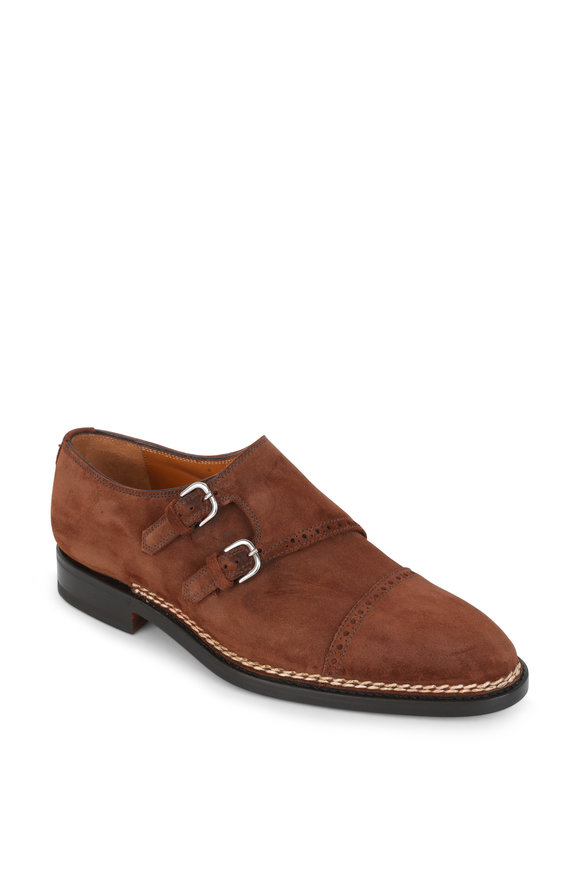 Bontoni Beldiamante Medium Brown Suede Double Monk Shoe