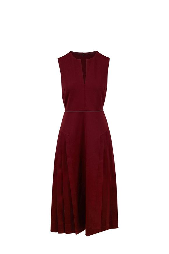 Fendi Burgundy Pleated Skirt Sleeveless Dress