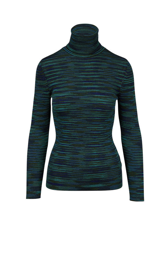 M Missoni Turquoise Spacedyed Striped Turtleneck
